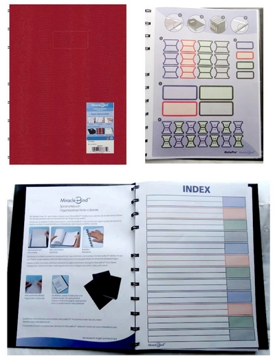 MiracleBind Notebook 120 pages déplacable bordeaux A4+