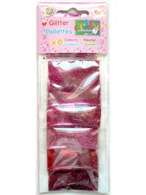Pailettes ultrafines 6 assorties, Rose et Rouge