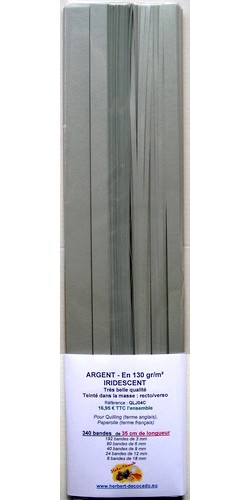 340 bandes ARGENT - IRIDESCENT Recto/Verso - 130 gr
